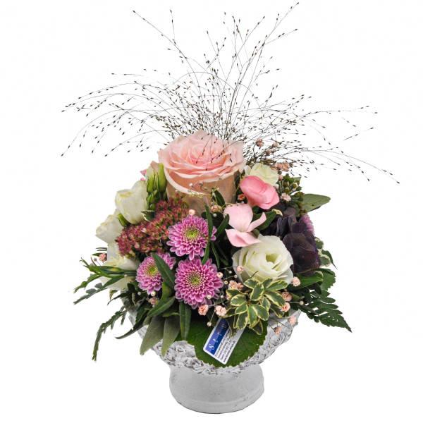 STRUB Blumengesteck rosa im Pokal