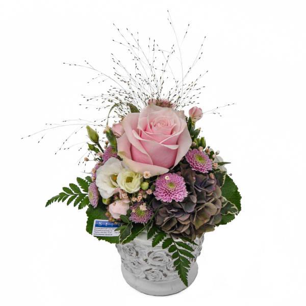 STRUB Blumengesteck rosa mit Beton Topf