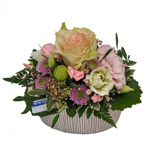 STRUB Blumengesteck rosa mit ovalem Topf