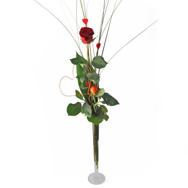 STRUB Rose rot mit Herzen